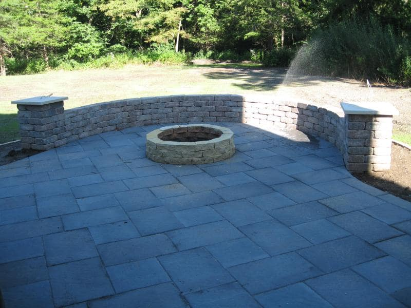 stone and brick fire pit landscaping